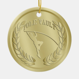 Pole Vault Gold Toned Medal Ornament