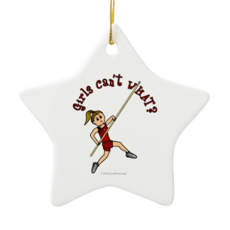 Pole Vault - Red (Light) Double-Sided Star Ceramic Christmas Ornament