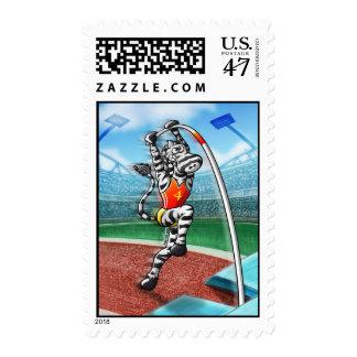 Pole Vault Zebra Postage
