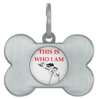 pole vaulting pet ID tag