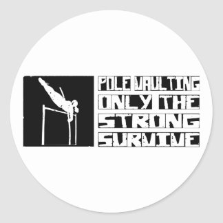 Pole Vaulting Survive Round Stickers