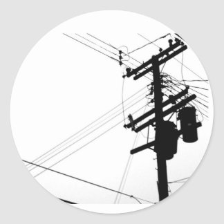 Pole with wires classic round sticker