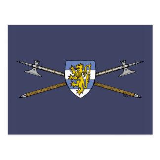 Poleaxes y postal del escudo