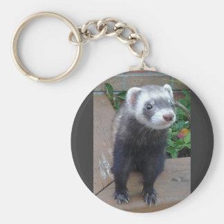 Polecat ferret basic round button keychain
