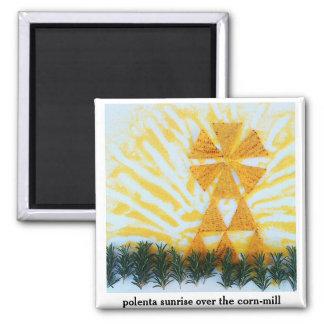 polenta sunrise over the corn-mill 2 inch square magnet