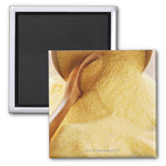 Polenta with wooden spoon and bowl 2 inch square magnet