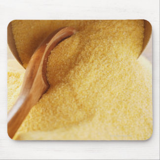 Polenta with wooden spoon and bowl mouse pad
