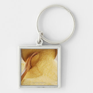 Polenta with wooden spoon and bowl Silver-Colored square keychain