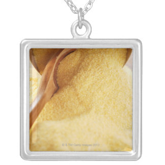 Polenta with wooden spoon and bowl square pendant necklace