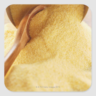 Polenta with wooden spoon and bowl square sticker