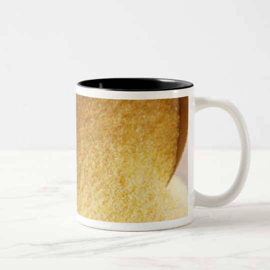 Polenta with wooden spoon and bowl Two-Tone coffee mug