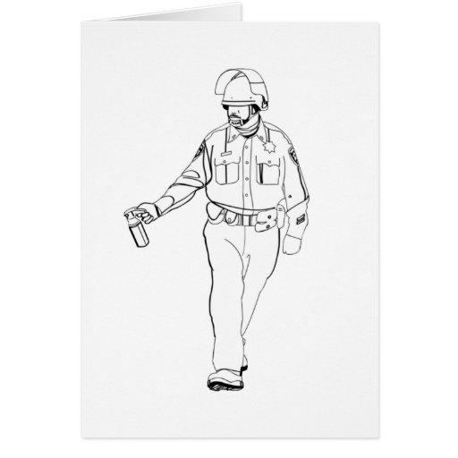 Poli casual del spray de pimienta tarjeta de felicitación