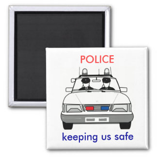 Police 2 Inch Square Magnet