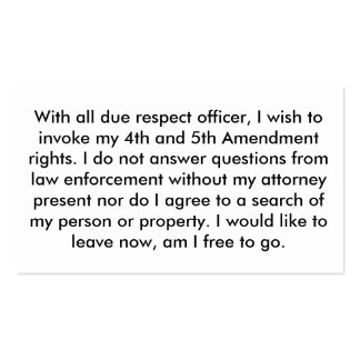 Police 5th Amendment Cards Business Card Templates