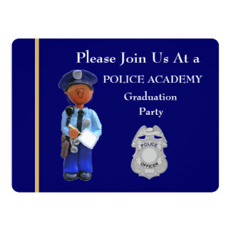 Police Academy Black Male Graduation Invitation