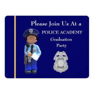Police Academy White Female Graduation Invitation