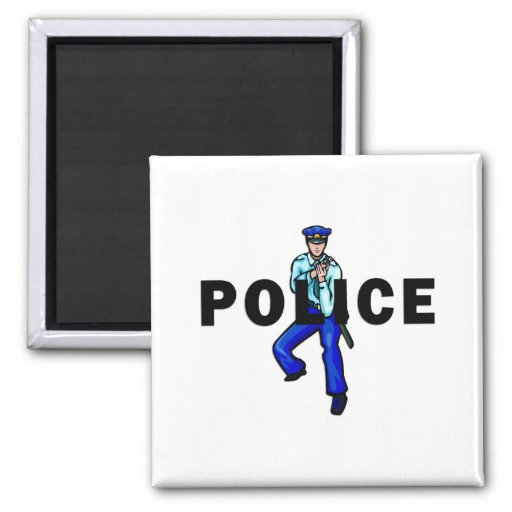 Police Action 2 Inch Square Magnet