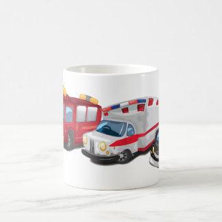 Police, Ambulance and Fire Service vehicles. Coffee Mug
