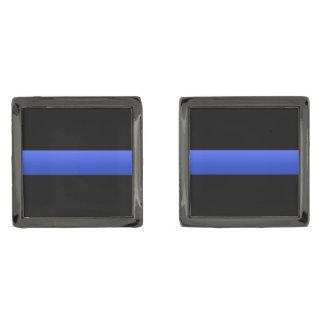 Police and LEO Thin Blue Line Gunmetal Finish Cufflinks