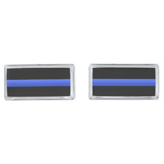 Police and LEO Thin Blue Line Silver Cufflinks