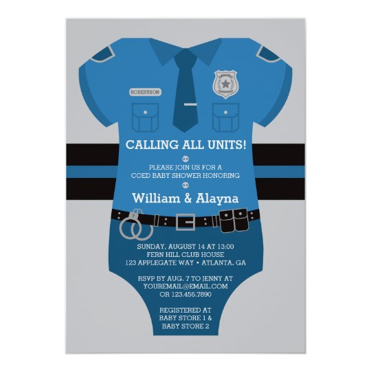 Police baby shower invitation zazzle police baby shower invitation filmwisefo