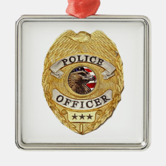 Police_Badge_Active Ornamento De Navidad