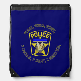 Police Badge Devuce Drawstring Backpack