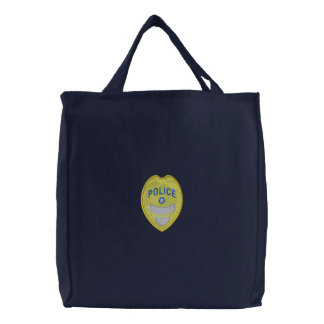 Police Badge Embroidered Tote Bag