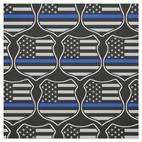 Police badge flag american with thin blue line fabric