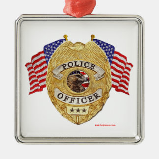 Police_Badge_Flags_Texturized Christmas Tree Ornaments