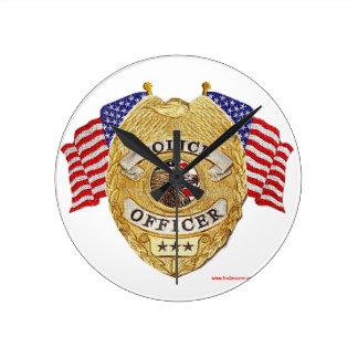 Police_Badge_Flags_Texturized Reloj De Pared