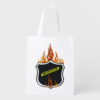 Police Badge Flames Grocery Bag