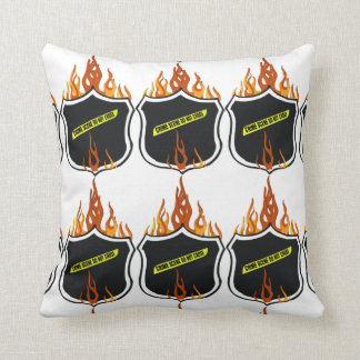 Police Badge Flaming Tattoo Throw Pillow
