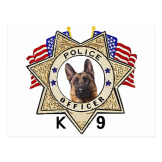 Police_Badge_Officer_Flags_K--9_Cutout Postcard