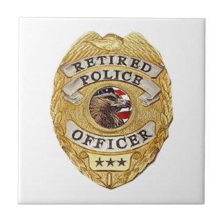 Police_Badge_Retired Azulejo Cuadrado Pequeño