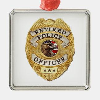 Police_Badge_Retired Ornamento De Navidad