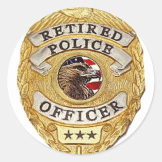 Police_Badge_Retired Pegatina Redonda