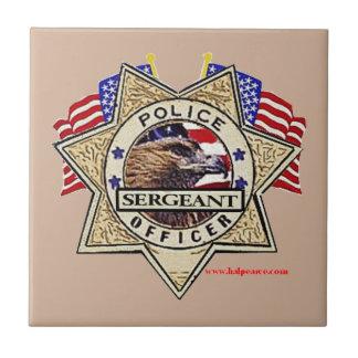 Police_Badge_Sergeant Azulejo Cuadrado Pequeño