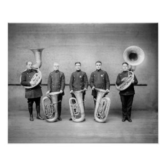 Police Band Tuba Players, 1915. Vintage Photo Poster