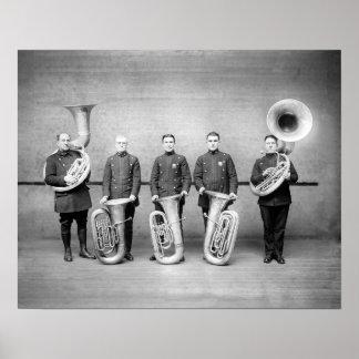 Police Band Tuba Players, 1915. Vintage Photo Poster