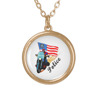 Police Biker Cops Gold Plated Necklace