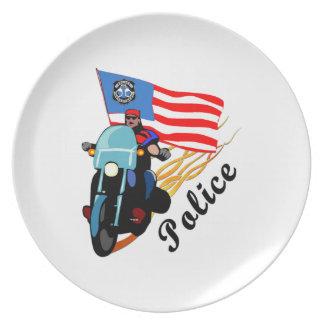 Police Biker Cops Party Plate