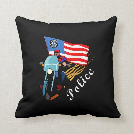 Police Biker Cops Throw Pillow