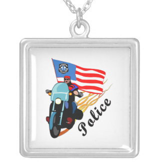 Police Bikers Silver Plated Necklace