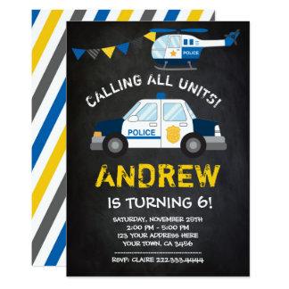 Police Birthday Invitation, Chalkboard background Card