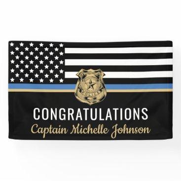 Police Blue Line Flag Congratulations Retirement Banner