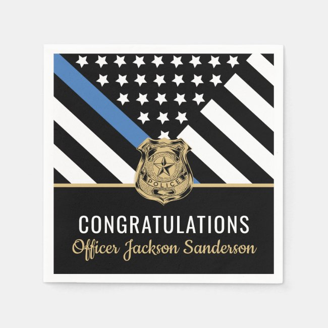 Police Blue Line Flag Congratulations Retirement Napkins