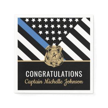 Police Blue Line Flag Congratulations Retirement Napkins