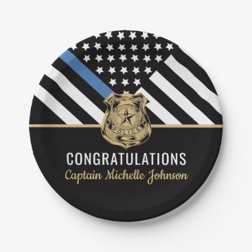 Police Blue Line Flag Congratulations Retirement Paper Plate