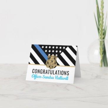 Police Blue Line Flag Graduation Congratulations Thank You Card